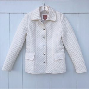 Esprit Womens Ivory Quilted Collared Jacket Size S